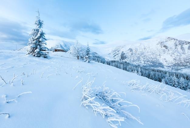 Matin hiver paysage de montagne avec des arbres couverts de neige et maison sur pente