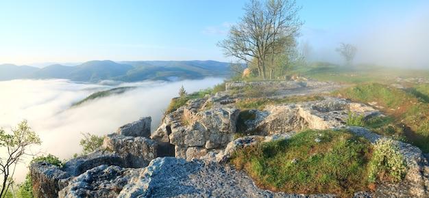 Matin vue nuageuse du haut de mangup kale - forteresse historique et ancienne colonie de grottes en crimée (ukraine). deux clichés piquent l'image.