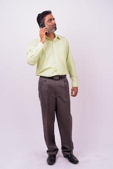 Mature, beau, homme affaires indien barbu, blanc