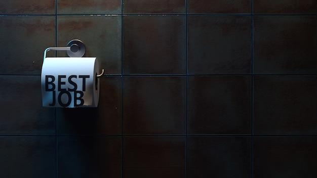 Mauvais travail de lettrage sur papier toilette dans les toilettes