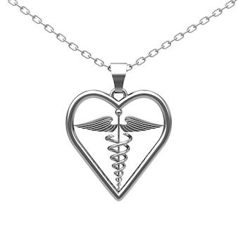 Médaillon de symbole de caducée médical d'argent sur un fond blanc. rendu 3d