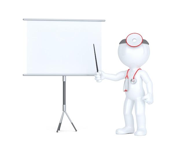 Médecin 3d avec tableau blanc. concept de présentation. isolé. contient un tracé de détourage