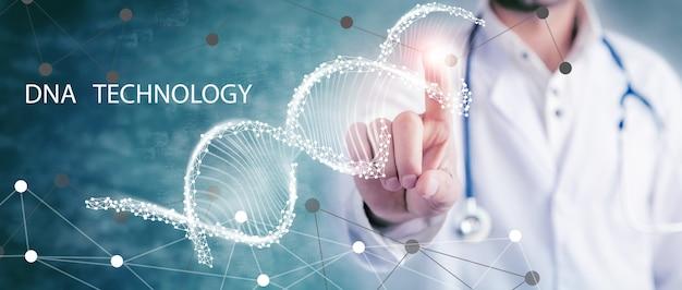 Médecin à l'aide de l'interface de molécule numérique