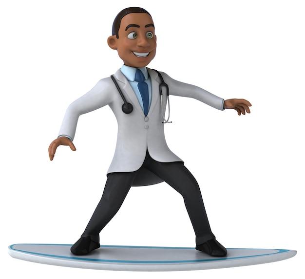 Médecin de dessin animé 3d amusant surfer