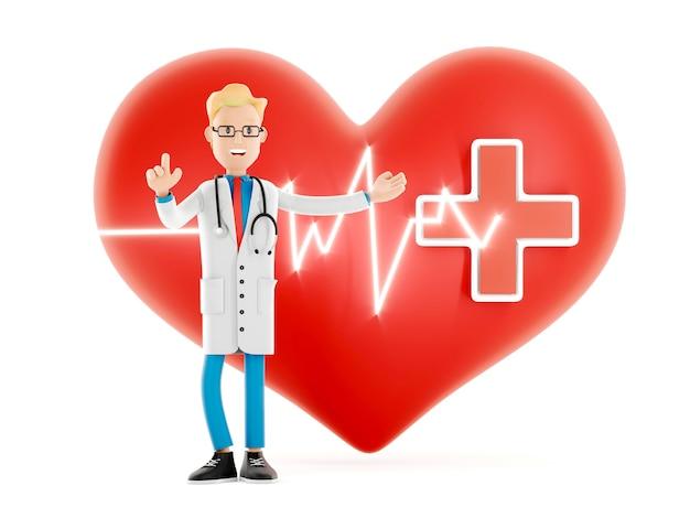 Médecin de dessin animé avec un grand coeur rouge, concept de cardiologie médicale