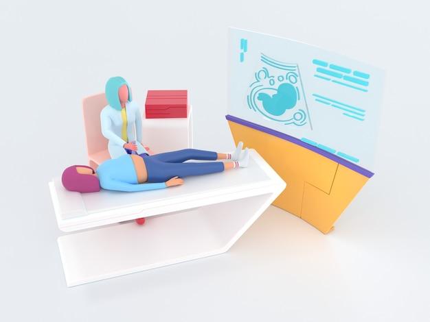 Médecin échographie série healthcare spécialiste en échographie au travail