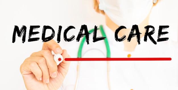 Médecin écrit le texte soins médicaux avec marqueur.