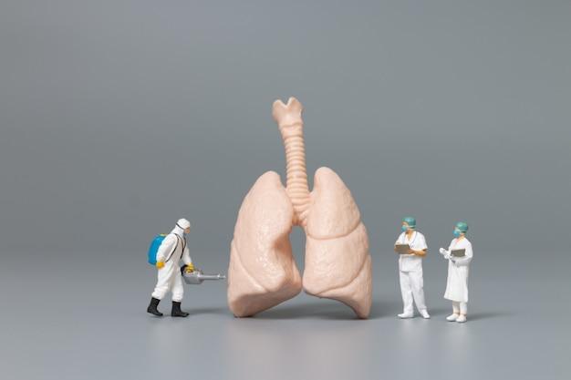 Médecin et infirmière miniatures observant et discutant des poumons humains