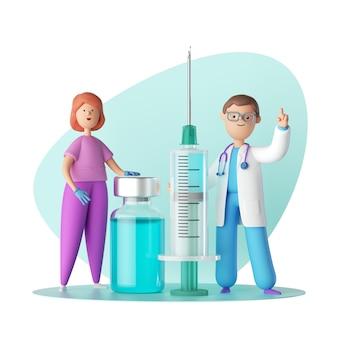 Médecin et infirmière de personnages de dessins animés près de la grande seringue, se tenir près de la bouteille en verre avec un liquide bleu.