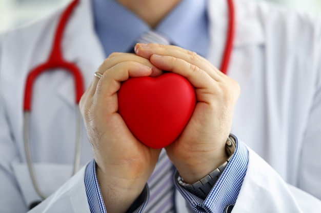 Médecin de médecine masculine mains tenant et couvrant le coeur de jouet rouge