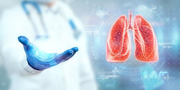 Le médecin regarde l'hologramme des poumons, vérifie le résultat du test sur l'interface virtuelle et analyse les données. pneumonie, don, technologies innovantes, médecine du futur.
