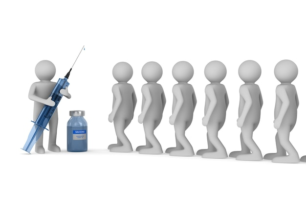 Médecin avec seringue médicale et patients sur fond blanc. illustration 3d isolée