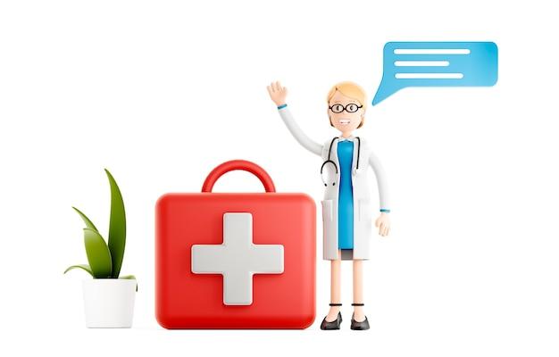 Médecin souriant avec une grande trousse de premiers soins, personnage médical de dessin animé