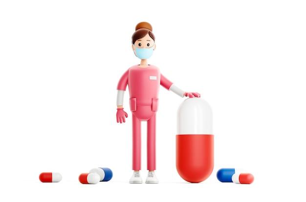 Médecin souriant avec une grosse pilule, personnage médical de dessin animé