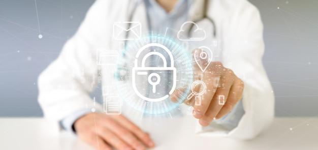 Médecin tenant une icône de roue de cadenas de sécurité avec icône multimédia et réseaux sociaux