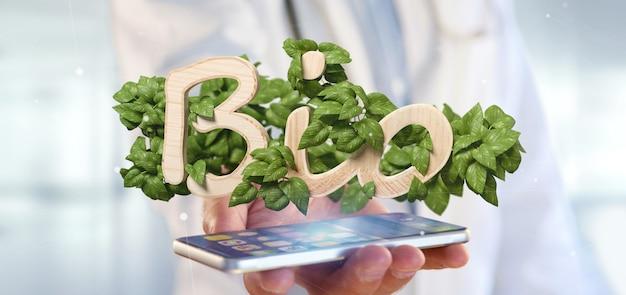 Médecin tenant le logo en bois bio avec des feuilles autour du rendu 3d