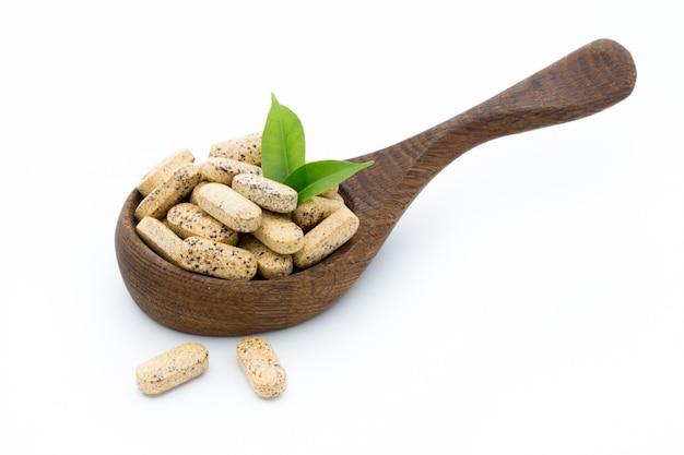 Médecine douce. capsules de vitamines. supplément homéopathique.