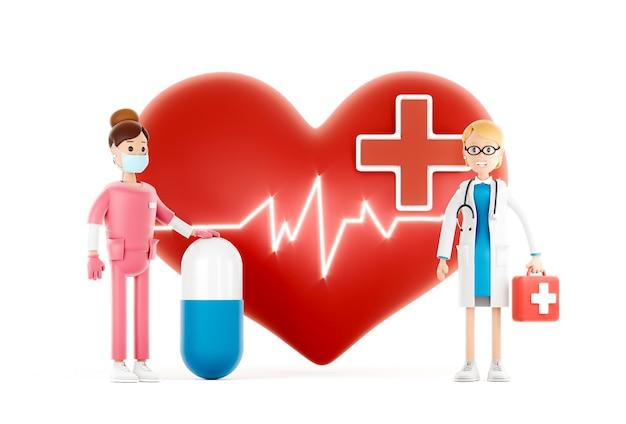 Médecins de dessin animé avec un grand coeur rouge, concept de cardiologie médicale