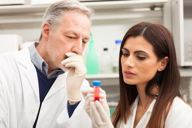 Médecins examinant un échantillon de sang dans un laboratoire