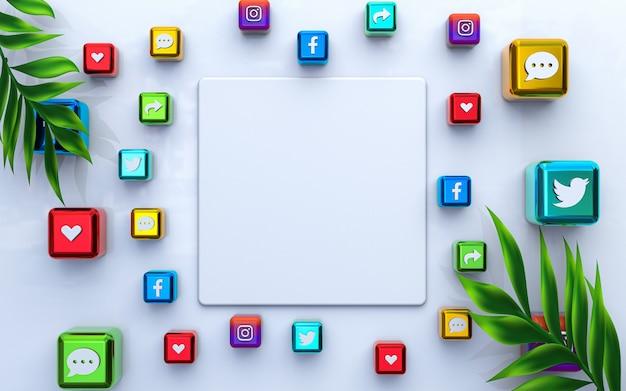 Médias en ligne publier un modèle vierge et une maquette vide fond premium avec icône sociale de rendu 3d