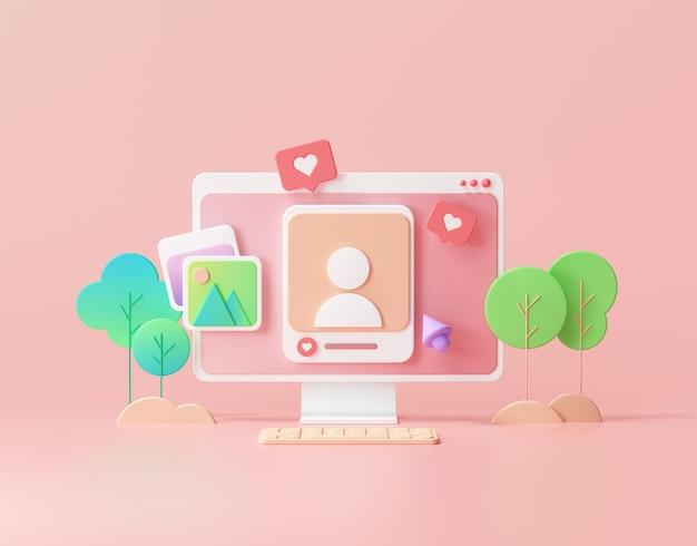 Médias sociaux avec cadre photo, comme bouton, payeur de médias sur fond rose illustration