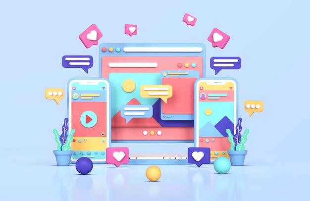 Les médias sociaux instagram concept de marketing numérique rendu 3d
