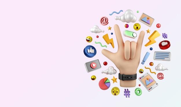 Les médias sociaux instagram marketing numérique illustration concept rendu 3d