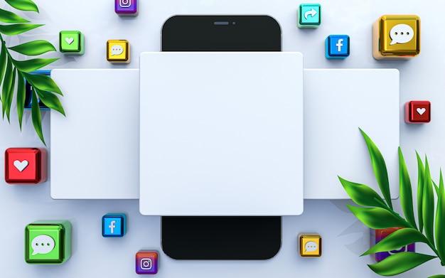 Médias sociaux publier un modèle vierge maquette carrée vide icône de rendu 3d de fond premium