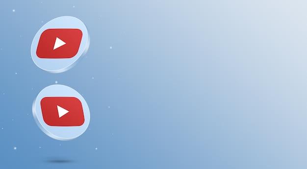 Médias sociaux youtube icônes rendu 3d