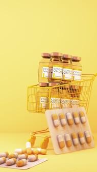 Médicament covid-19 dans le panier sur fond jaune. rendu 3d