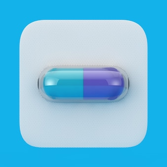 Médicament médical capsule pilule en blister sur fond bleu. rendu 3d