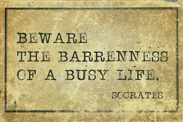 Méfiez-vous de la nudité de la vie trépidante - citation du philosophe grec ancien socrate imprimée sur du carton vintage grunge