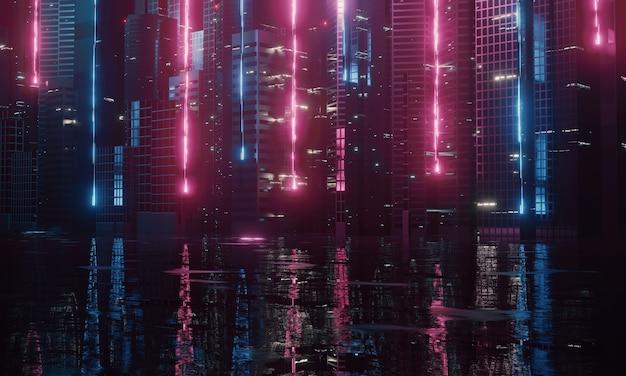 Méga ville au néon avec réflexion de la lumière des flaques d'eau sur la rue