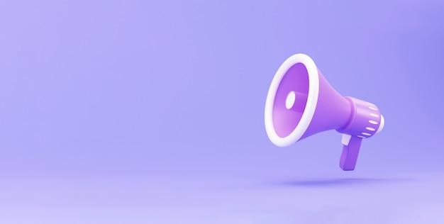 Mégaphone 3d réaliste, concept minimal de haut-parleur. mégaphone sur fond violet. illustration de rendu 3d