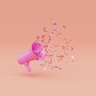 Mégaphone avec des confettis qui en sortent