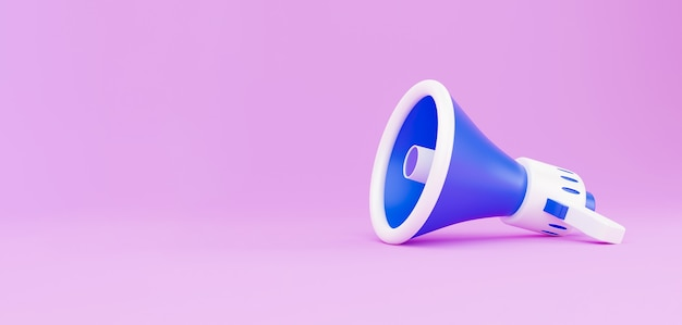 Mégaphone sur fond rose. illustration de rendu 3d avec espace de copie. le mégaphone portable sans fil blanc et bleu de rendu 3d se trouve sur un fond rose pastel. faire passer votre message