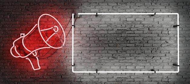 Mégaphone néon rouge et cadre vide avec un espace pour le texte
