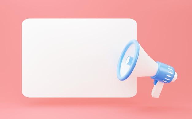 Mégaphone de rendu 3d sur une bannière vierge avec espace de copie. style de dessin animé minimal, concept de communication d'amplificateur avec bulle de dialogue