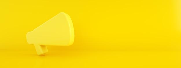 Mégaphone de rendu 3d sur fond jaune, image panoramique avec espace pour le texte
