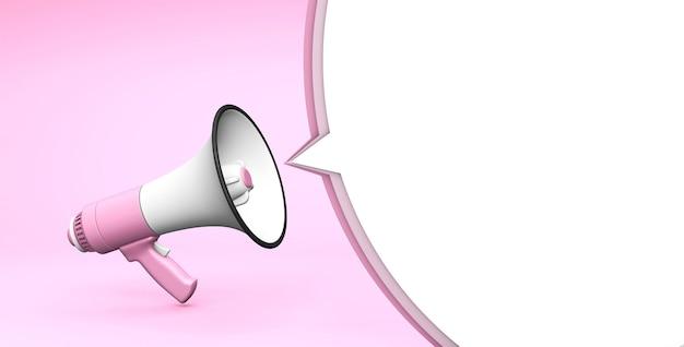 Mégaphone rose et bulle sur fond rose modèle avec espace de copie pour le texte pour la conception