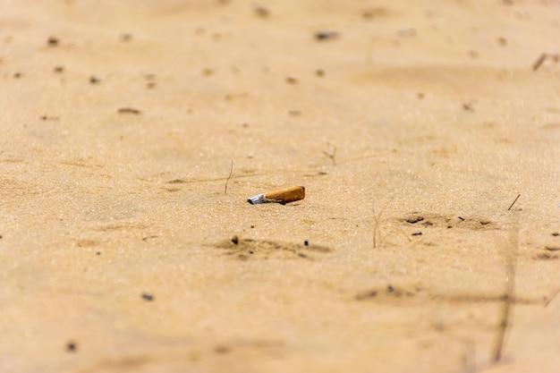Le mégot de cigarette est sur la côte sablonneuse.
