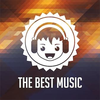 Le meilleur concept musical. conception d'étiquettes rétro. fond de hipster fait de triangles, effet de flux de couleur.