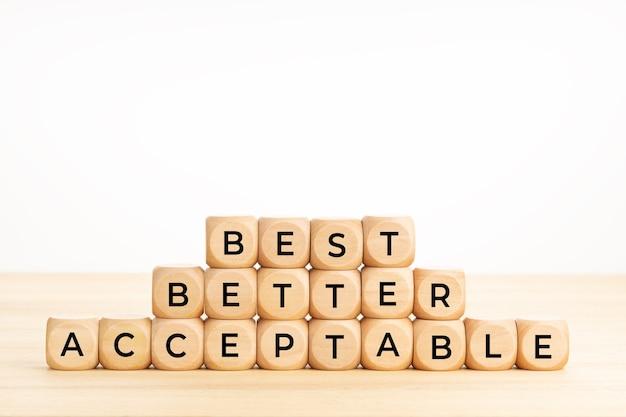 Les Meilleurs Mots, Meilleurs, Acceptables Sur Des Blocs De Bois Sur La Table Photo Premium