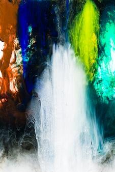 Mélange coloré d'encres vives sous l'eau