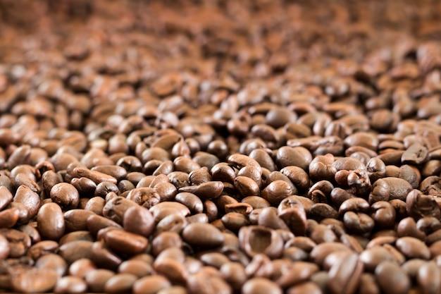 Mélange de différents types de grains de café. fond de café