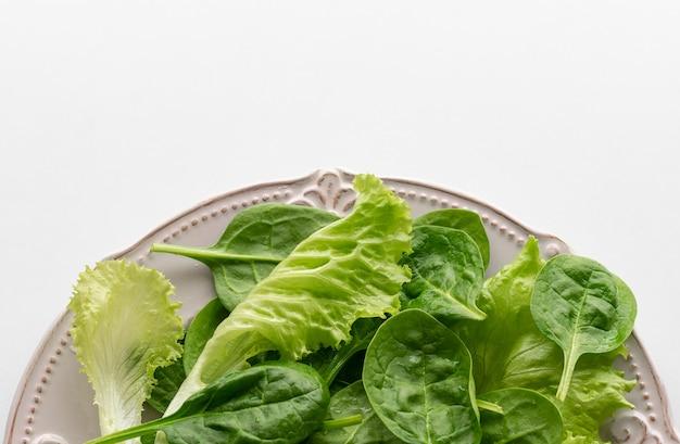 Un mélange de feuilles d'épinards et de feuilles de salana dans une assiette.