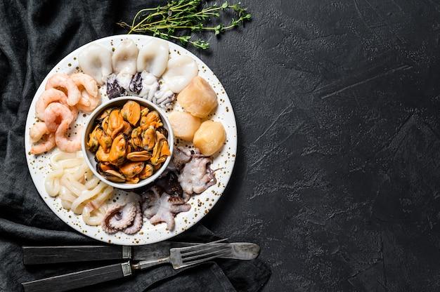 Mélange de fruits de mer bouillis, fond de cocktail de mer