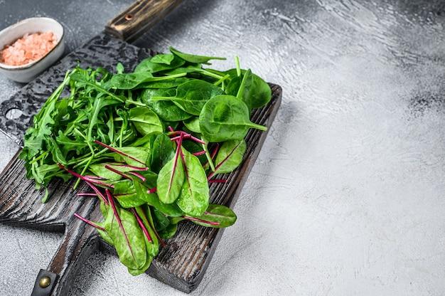 Mélange de légumes verts frais, épinards, bette à carde et roquette