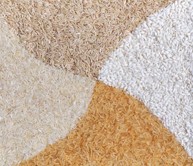 Mélange multicolore de composition de riz sec brut: arborio, riz basmati, indica gold, indica brown. fermer.