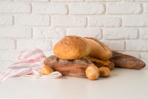 Mélange de pain vue de face